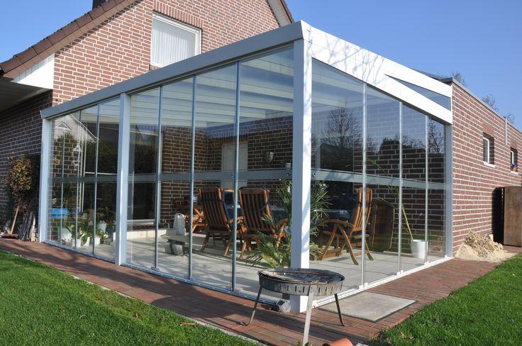 Gesloten #aluminium #terrasoverkapping met glas en ...