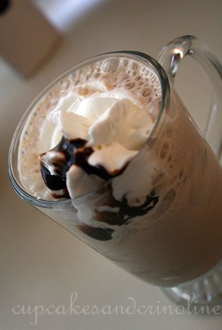 Homemade frappe mocha, made with coffee ice cubes. Brilliant!
