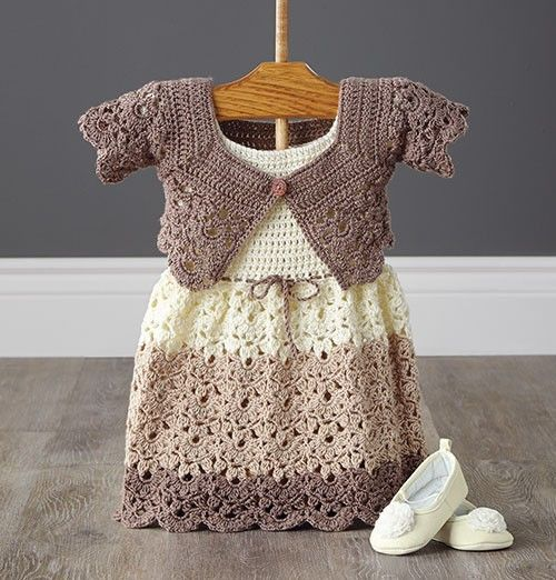 """A stylish set to crochet for your favorite little girl. [   """"Mary Maxim - Lacy Dress and Shrug - months - Baby"""",   """"Make little crochet booties with pom-poms """",   """"Off Apparel Kits"""" ] #<br/> # #Crochet #Girls #Dress #Pattern,<br/> # #Crochet #Toddler #Dress,<br/> # #Crochet #Baby #Dresses,<br/> # #Crochet #Pattern,<br/> # #Crochet #Baby #Shrug,<br/> # #Crochet #Baby #Clothes,<br/> # #Crochet #Outfits,<br/> # #Lacy #Dresses,<br/> # #Baby #Girl #Dresses<br/>"""
