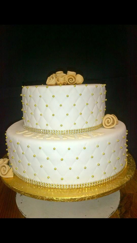2 Tier white and gold wedding cake by Altefyn Cakes