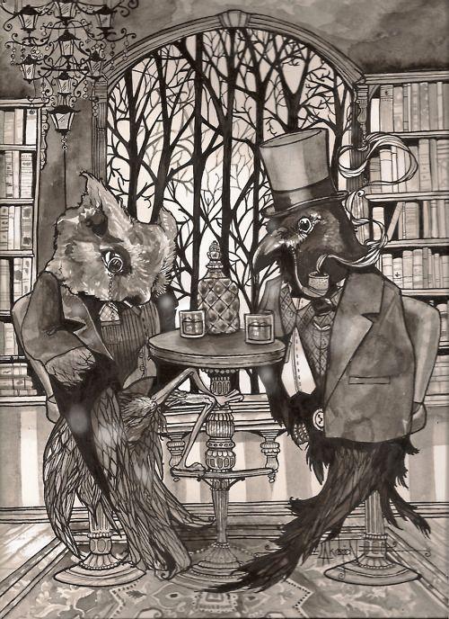 Illustration | Tumblr: Watercolor, The Raven, Leyla Akdogan, Stuff, Illustration, Art Prints, Owl, Raven Art, Ravens