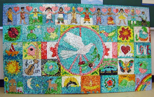 "A gorgeous ""Peace"" bulletin board display."