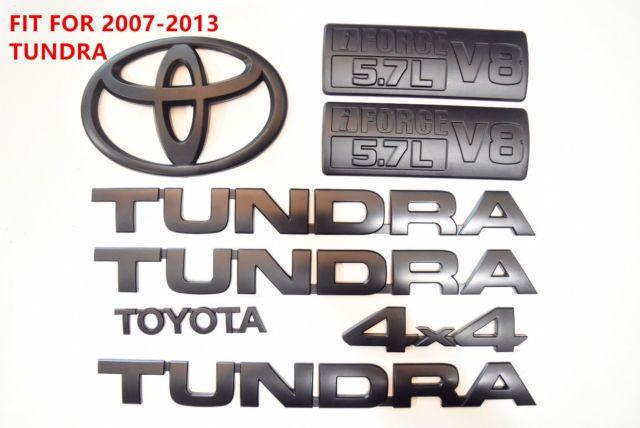 FOR 2007-2013 Tundra Matte Black Out Emblem Badges tailgate 8 Piece Kit