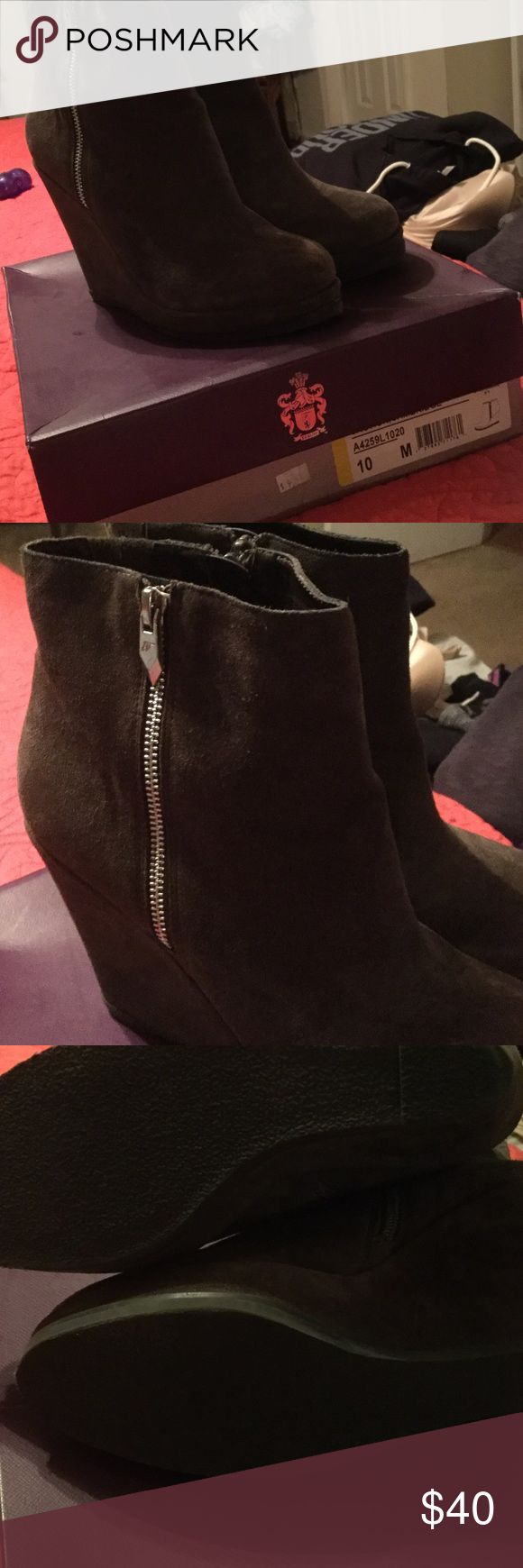 Fergie suede wedge booties Cute booties with jeans or leggings. Color is between olive and brown. Only worn a couple of times. Fergie Shoes Ankle Boots & Booties