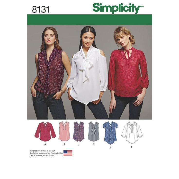 Misses V-neck bow blouse pattern allows you the ability to choose different bow styles and sleeves plus round or pointed hem. View F also gives option of cold shoulder to really up your trend game.