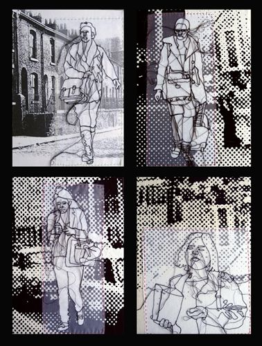 """""""Group of 4 small pieces"""", 2011. Rosie James is based in Rochester, South East """"I am a Textile Artist. My work focuses on drawing using the sewing machine, and hand embroidery. I also screen print elements. I am particularly interested in crowds, and the individual within the crowd."""""""