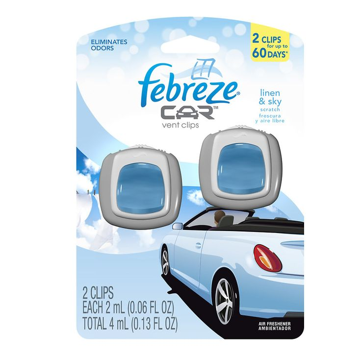 Febreze Car Vent Clips, Air Freshener Linen & Sky