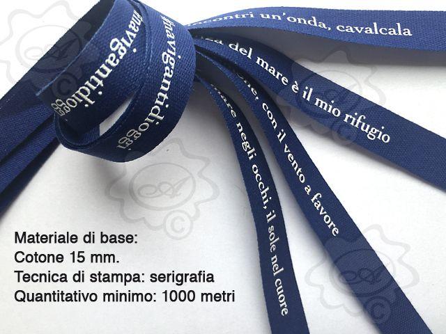 Nastro personalizzato in cotone, stampa in serigrafia