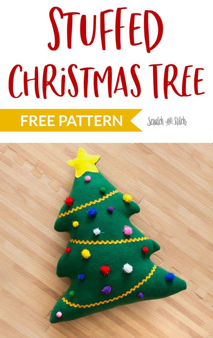 Stuffed Christmas Tree Free Sewing Pattern Diy Christmas Tree Ornaments Fabric Christmas Trees Christmas Sewing Patterns