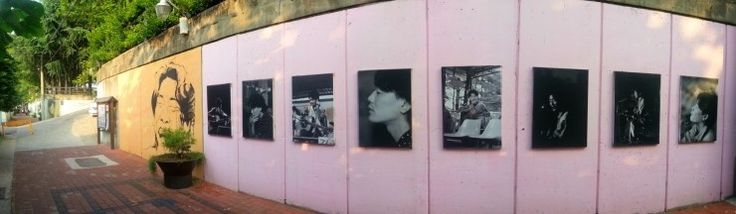Kim Gwang-seok is a famous Korean singer. And he sang beautiful songs. But, he died at the tender age of 31. A lot of people remember his songs during his short life. There is a 350-meter-mural street with his life and music theme in the East of Bangcheon market.