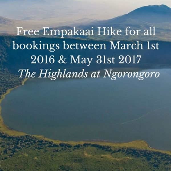 Get a free hike if you book between March 2016 and May 2017, when staying at The Highlands, in Ngorongoro
