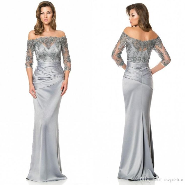 Silver Mother of the Bride Dresses Long Sleeve 2015 Sheer Neck Off the Shoulder Cheap Lace Mermaid Wedding Evening Gowns Formal Mother Dress Online with $95.38/Piece on Sweet-life's Store   DHgate.com