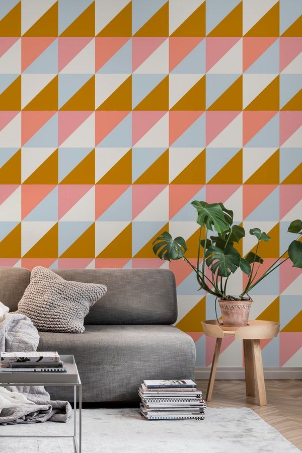Trio Mustard Wall Mural From Happywall Wallpaper Wallpapers Wallmurals Wallmural Peach Mustard Geometric Geometrical Happywall Grey Triangles