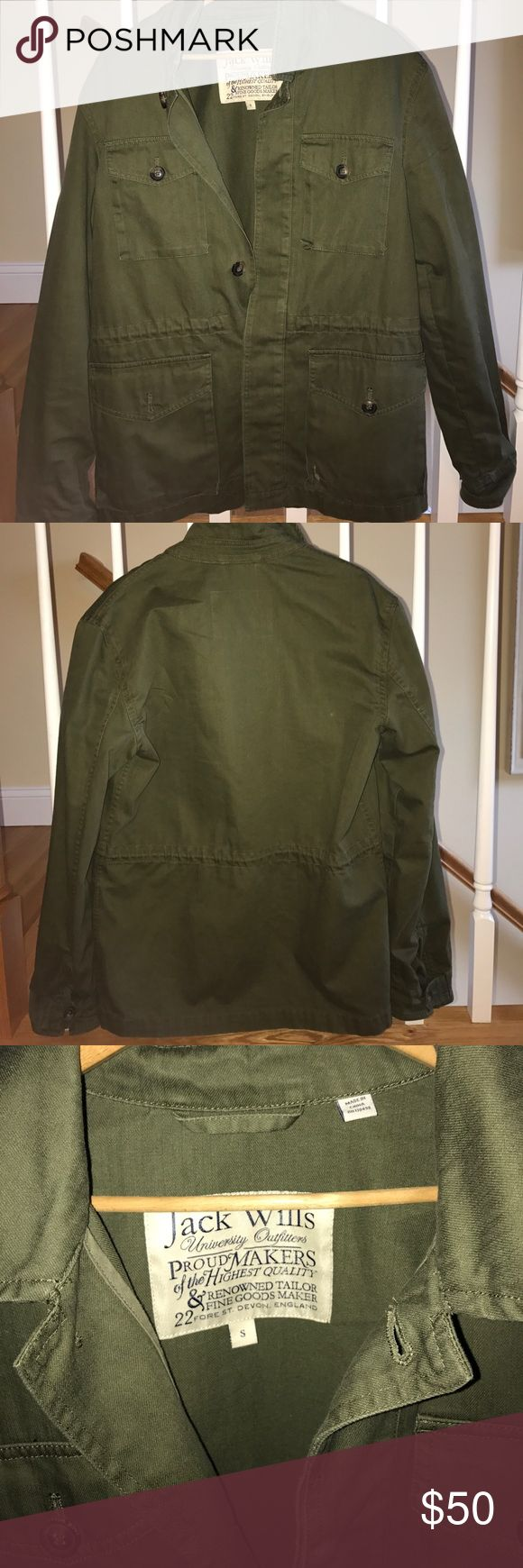 Jack Wills green Field Jacket Pristine quality Jack wills field jacket. Super neutral and matches everything, nice cotton twill material is durable. Worn 2-3 times. Flattering fit Jack Wills Jackets & Coats Military & Field