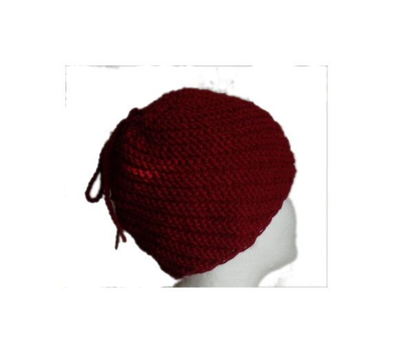 Cherry red wine swirl  hand knitted winter hat with by MyLaceSpace, $29.00