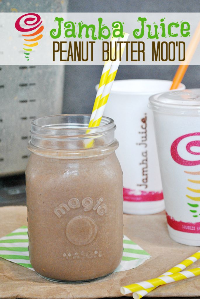 Copy Cat Recipe | Jamba Juice Peanut Butter Moo'd shake...I would try substituting pb2 for the peanut butter, skim milk and chocolate protein powder ~