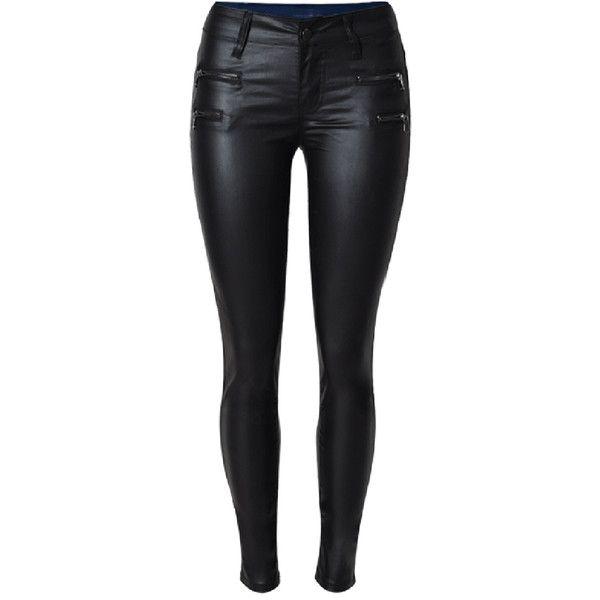 Choies Black Low Waist Zipper Detail Skinny PU Pants ($43) ❤ liked on Polyvore featuring pants, bottoms, pantalones, black, skinny trousers, skinny leg pants, super skinny pants, skinny fit pants and skinny pants