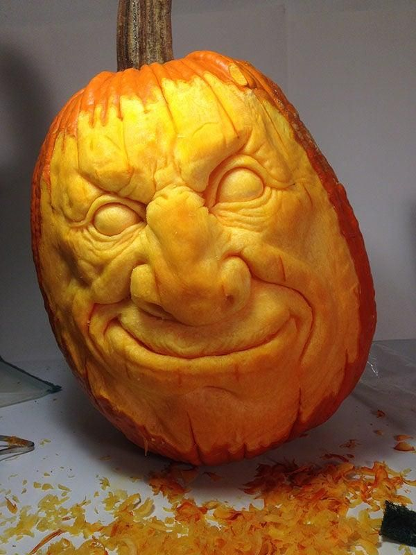 How To Carve A Realistic Face On A Pumpkin Pumpkin Sculpting Carving Amazing Pumpkin Carving
