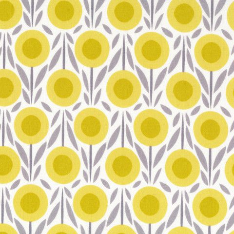 Flower Bed in yellow.£3.60 From the 'House & Garden' collection by Michelle Engel Bencsko for Cloud 9 fabrics. Sold by the fat quarter metre, which measures 50cm x 56cm.Weight / content: quilting, 100% cotton, organic Width: 112cm / 44""