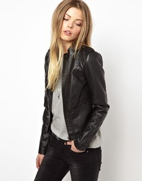 Image 1 of Noisy May Macy Short Leather Look Jacket - waist seam gives fitting and slight peplum effect