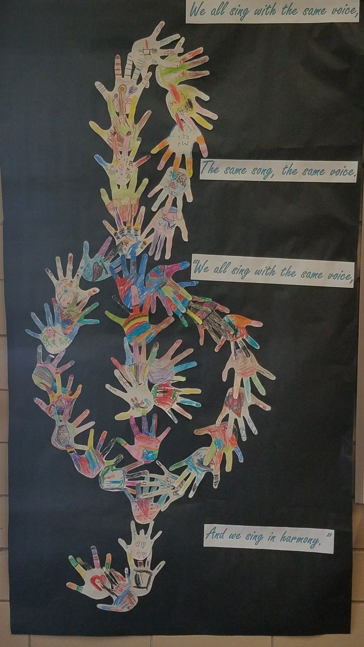 "After learning ""We All Sing With the Same Voice"" from Sesame Street my kindergartners traced their ha d's and drew pictures of what makes them unique and I created a clef. Turned out better than I expected and was a great hallway decoration"