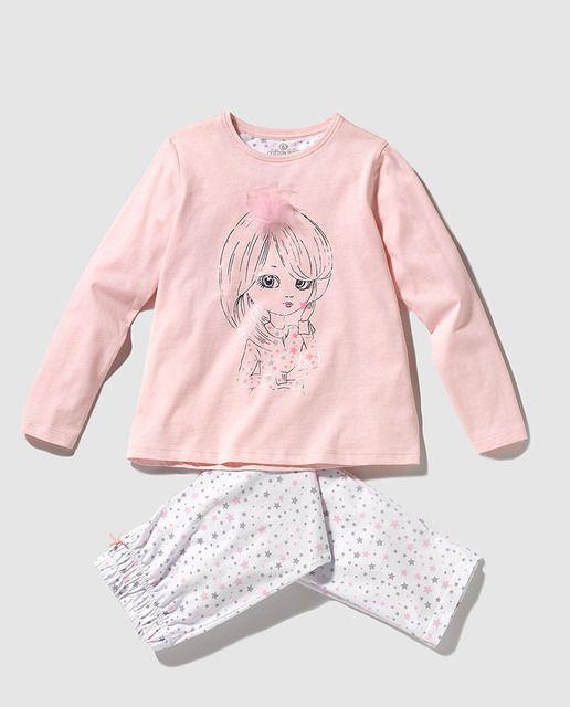 Pijama de niña estampado combinado
