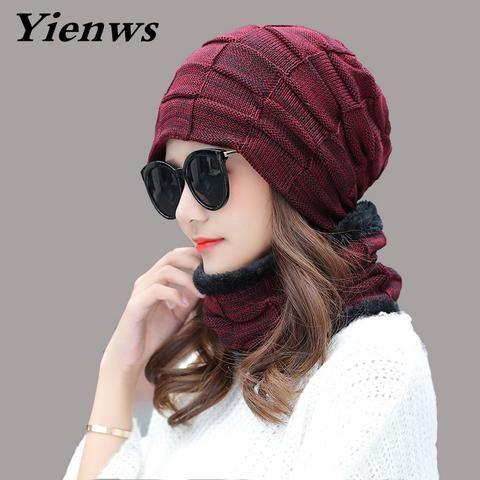 Yienws Women Winter Hat Knitted Hats Scarf Set Beanie Female Neck Warmer Spring … – Skullies & Beanies