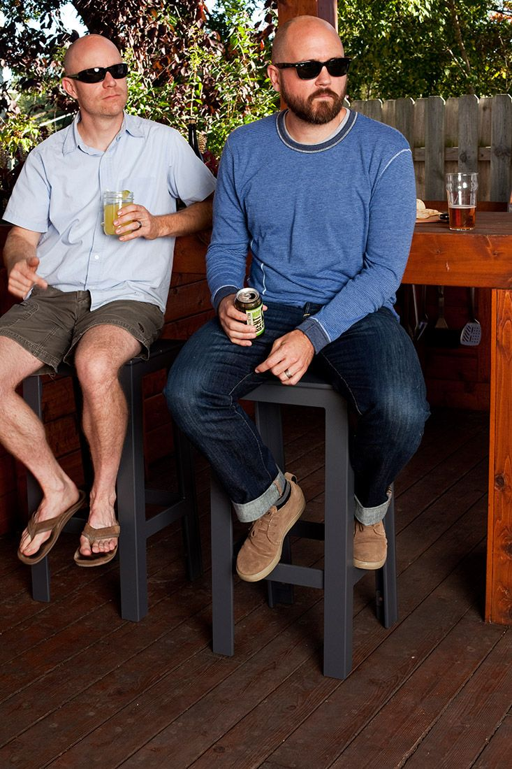 Modern outdoor bar stool for the eco man cave. Designed and manufactured by Loll using 100% recycled plastic.