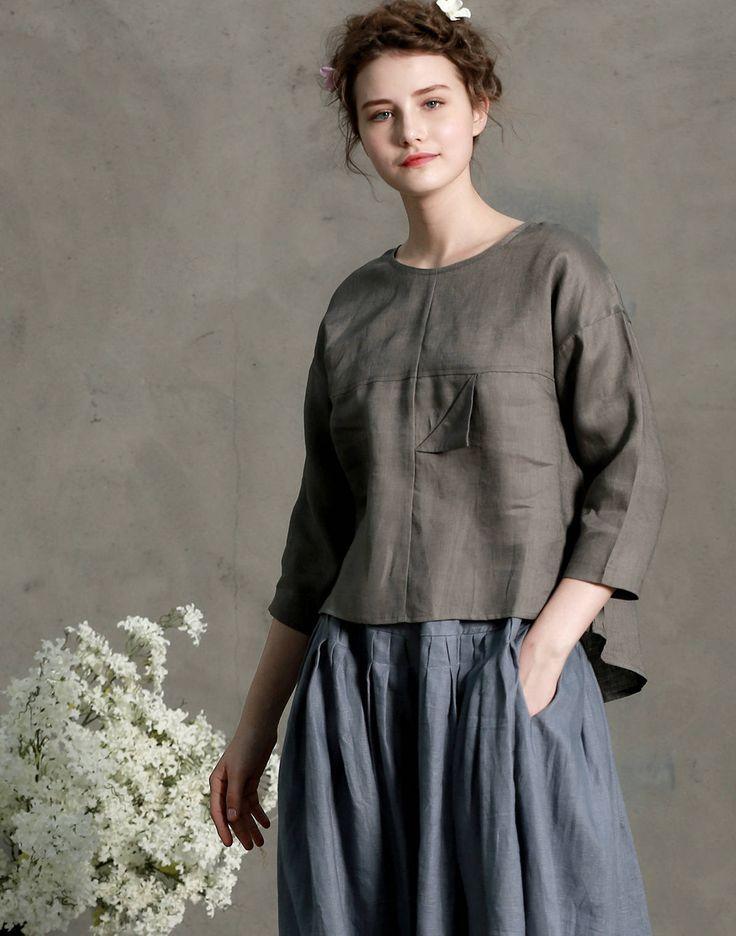 gris túnica blusa de lino camisa de manga tres cuartos