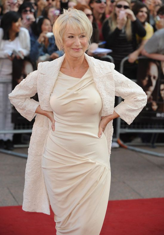 "Helen Mirren | The woman is in her 60s and she looks fantastic! The fact that she has visible wrinkles only works in her favor as far as I'm concerned because that means she's not shooting up with Botox every three months – her beauty is natural. And honestly, and woman in her 60s who will go out in public in a bikini wins the ""confidence is sexy"" award in my books!"