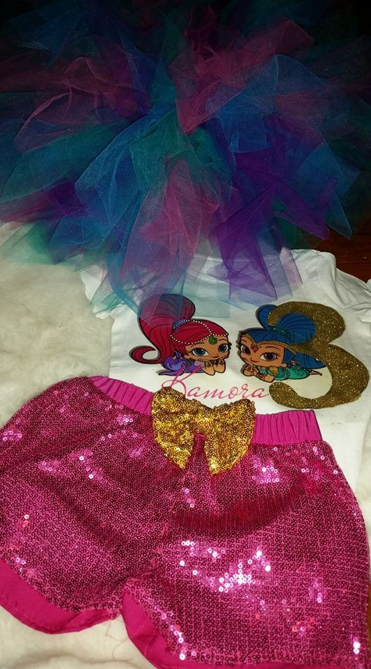Shimmer and shine, Shimmer and shine birthday outfit, Shimmer and shine tutu set, Shimmer and shine shorts, Shimmer and shine tshirt, Shimmer and shine custom