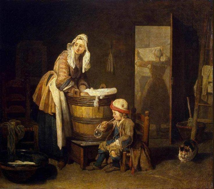 """""""A Lavadeira"""", pintura de Jean Baptiste Simeon Chardin        Toda vez que eu me aproximava, a máquina de lavar corria em minha direção. A..."""