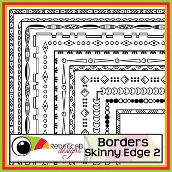 Borders Skinny Edge 2 contains 20 different doodled borders, white fill and transparent of each and will fit nicely on U.S. Letter with a half inch margin.  There are a total of 40 Borders in this set and they can be reduced or increased in size easily.