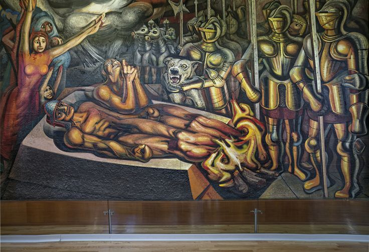Tormento de cuauht moc por david alfaro siqueiros 1950 for El mural de siqueiros