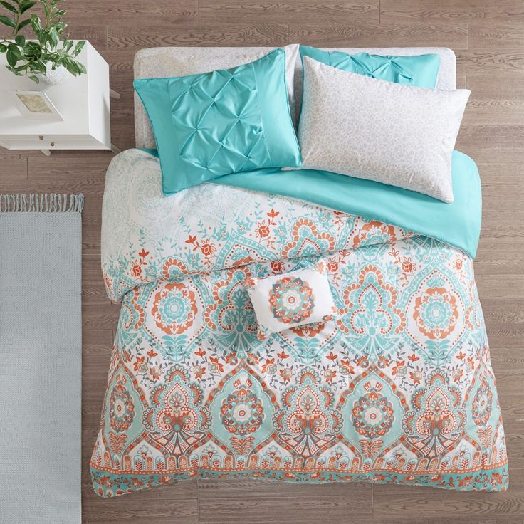6pc Twin XL Skylar Comforter and Sheet Set Aqua, Adult