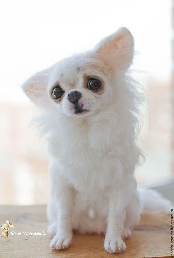 Купить Собачка Little Bit(повтор) - белый, чихуахуа, валяная собачка, трогательный подарок, грустная собачка