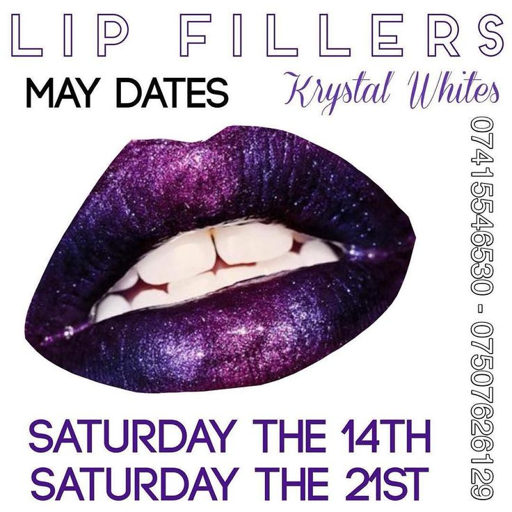 MAY DATES - Lip Fillers Saturday The 14th Saturday The 21st 100 half a syringe 0.5ml 200 full syringe 1ml 20 deposit required upon booking 07415546530 07507626129 #Pout #Lips #Fillers #Aesthetics #krystalWhites #DontMissOutOnThatPout #AntiWrinkle #TeethWhitening #Teeth #Smile #Hair #MakeUp #SPM #WakeUpWithMakeUp #Beauty #Eyelashes #HairUp #Glam #MakeOver #Wedding #Prom #Massage #Facial #Nails #Manicure #Pedicure #RussianVolume by krystalwhites Our Teeth Whitening Page…