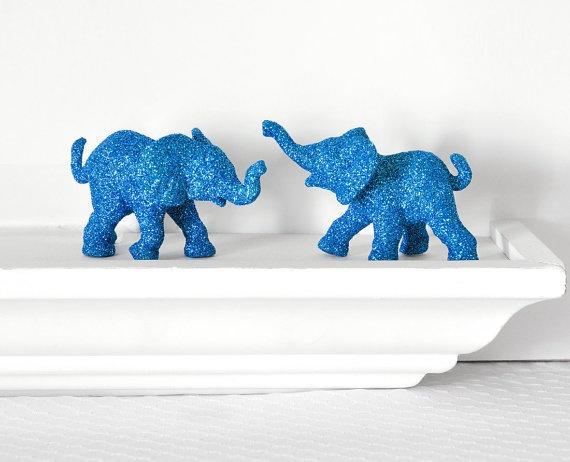 Safari Blue Elephants Baby Shower Decorations In Glitter Baby Shower Pinterest Elephant