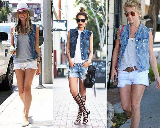 Resultado de imagem para look com colete jeans