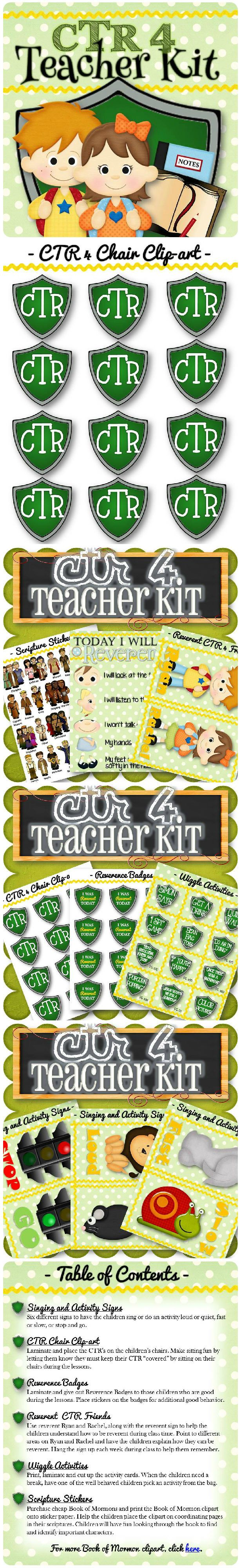 The perfect kit to make teaching CTR 4 and young children simple and more fun! The activities, rewards, teaching ideas, and games will help make LDS primary lessons a little easier and more fun for both the child and the teacher. Free CTR 4 clip-art to help kids stay on their chairs!
