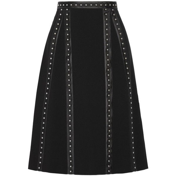 Altuzarra Steele studded satin-trimmed crepe skirt (6,615 CNY) ❤ liked on Polyvore featuring skirts, black, studded skirt, embellished skirts, crepe skirt, knee length a line skirt and a-line skirt