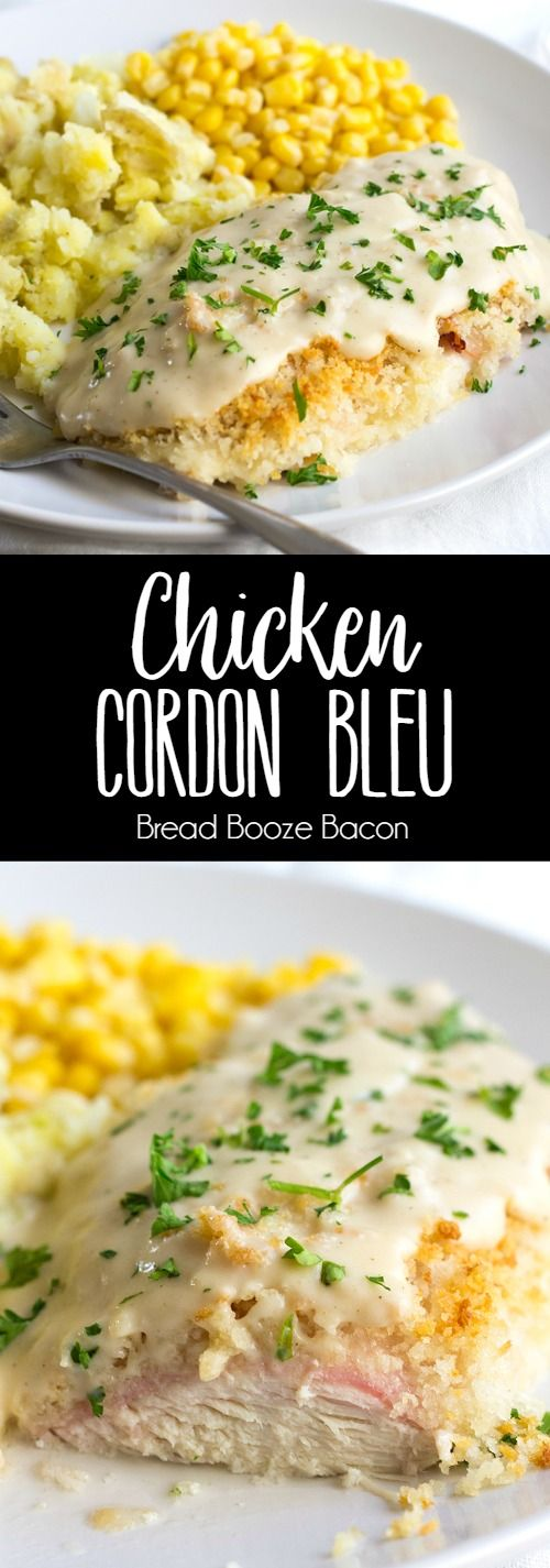 Go make this Easy Chicken Cordon Bleu for dinner tonight! I'm not even kidding. It's completely delicious, and the sauce is to die for! via @breadboozebacon