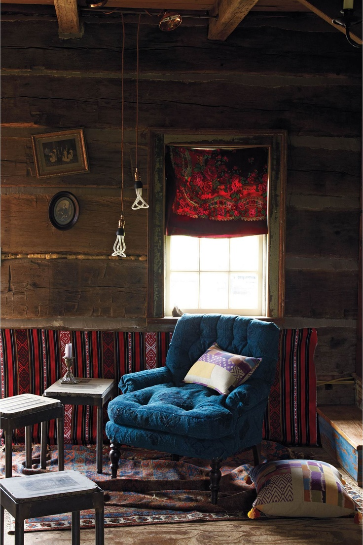 Anthropologie home decor woodsy room blue tufted chair Anthropologie home decor ideas