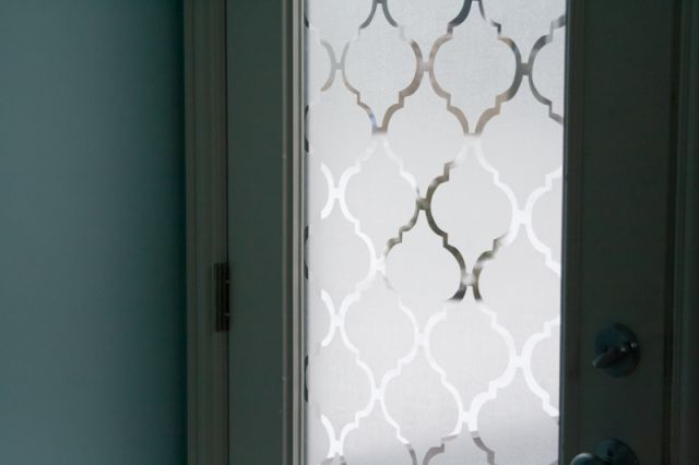 Frosted glass door makeover - for back yard french doors