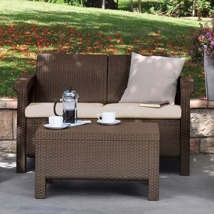 keter corfu love seat all weather outdoor brown patio garden furniture with cushions