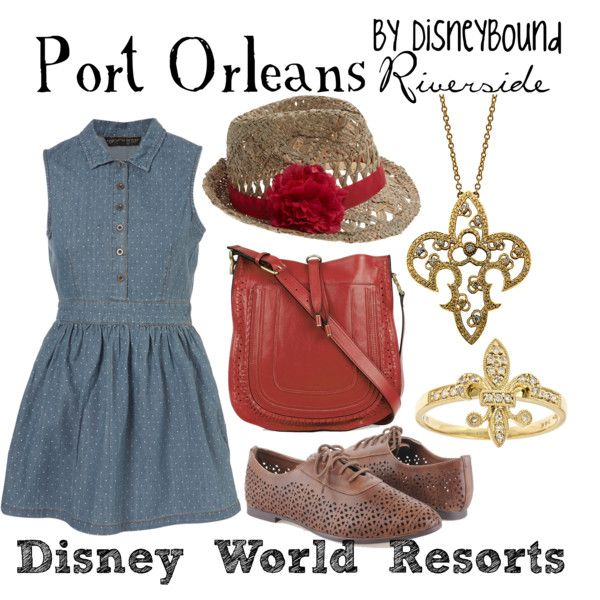 I would be comfortable in this~denim dress, flat shoes and cute hat , my style shoulder bag also  (Port Orleans - Riverside, created by lalakay on Polyvore)