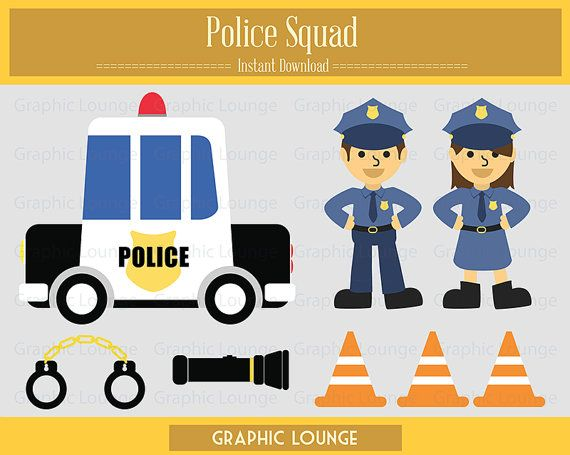 Police Squad Clipart. Vector Police Squad. Police Car. 300 dpi. Eps, Png files. Instant Download.