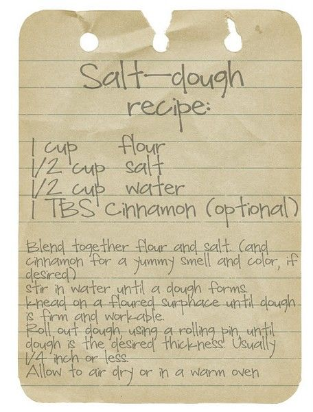 Salt Dough recipe for Christmas ornaments w/ the kids  To remember the recipe