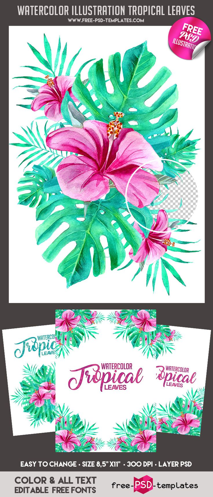 FREE WATERCOLOR TROPICAL LEAVES IN PSD on Behance