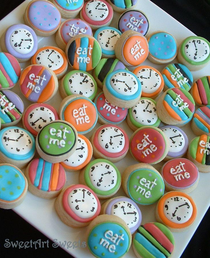 Alice in Wonderland - Eat Me mini cookies - clock mini cookies - 2 dozen. $26.50, via Etsy.
